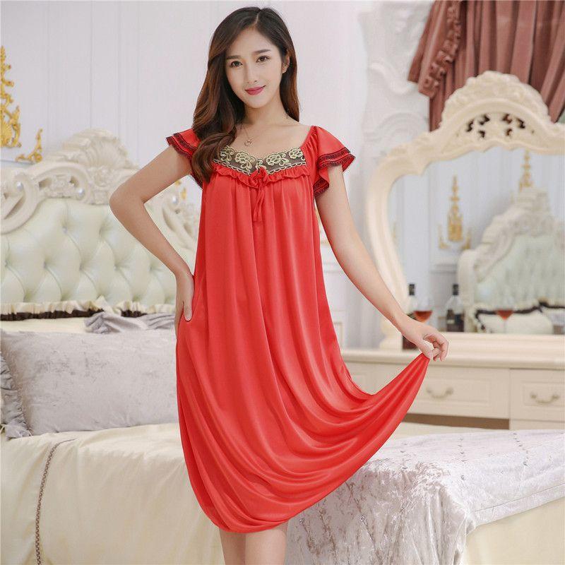 2018 Wholesale Female Summer Dress Plus Size 4xl Nightgowns ...