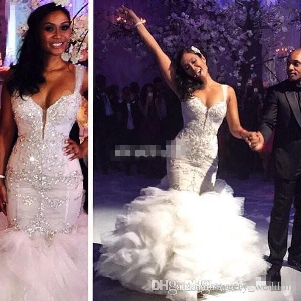 Hot Sale 2016 Vintage Mermaid Wedding Dresses with Luxury Crystals Cascading Ruffles Tulle Sweetheart Pnina Tornai Bridal Gowns Custom Made