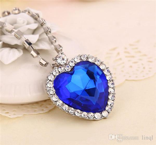 Corrente de cristal O Coração Do Oceano Colar de coração de luxo pingentes de diamante Titanic colares para as mulheres declaração de filme jóias 17112904