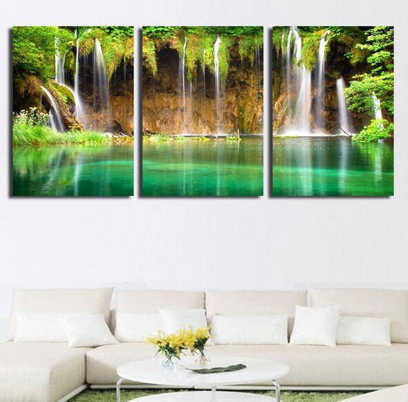 Waterfall Wall Art 2017 3 pic wall art landscape canvas paintings home decor green