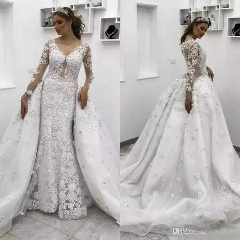 Cheap Wedding Dresses Under 500 Dollars: 2018 Luxury Crystal Beaded Lace Illusion Long Sleeve