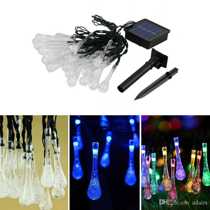 Lámpara solar cadena 30LED gota gota decoraciones de Navidad luces LED lámpara de cadena impermeable fábrica al por mayor