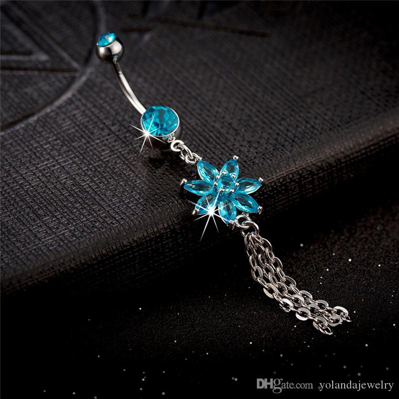 2015 New Fashion Sexy Wome Turquois Body Piercing Charming Jewelry Diamond Flower Nail Navel Ring Belly Dance jewelry belly Ring Navel Nail