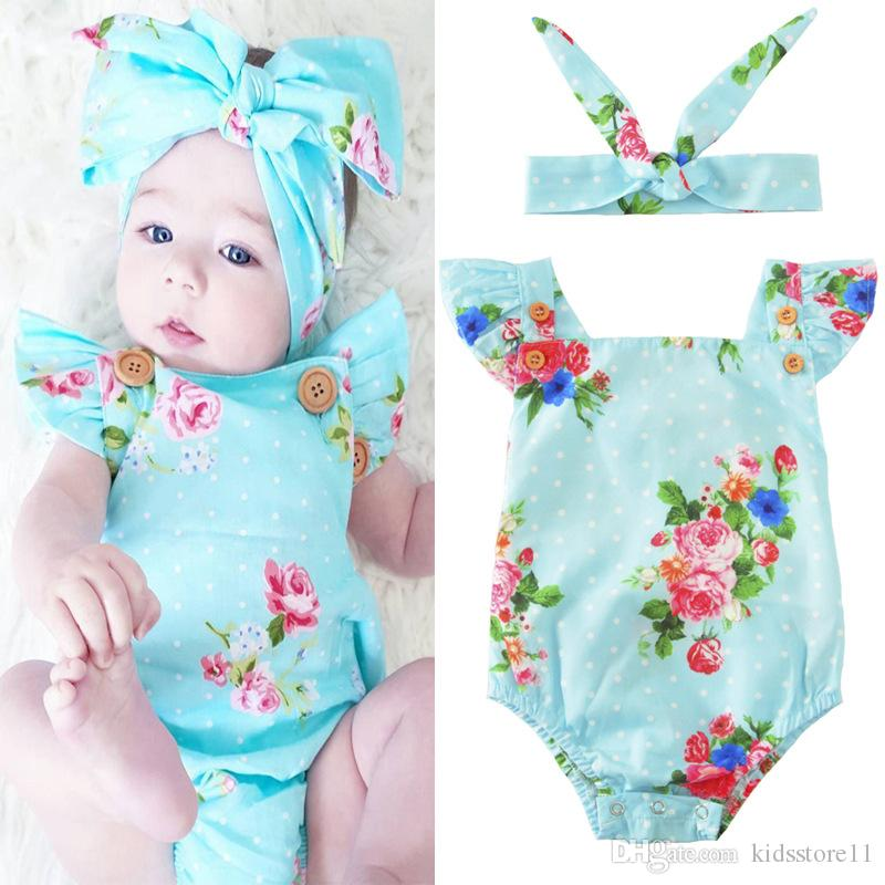 INS hot 2017 Baby girl kids toddler Summer 2pcs outfits Rose floral Romper Onesies Diaper Covers Jumpsuits Lace Ruffles + Bow Headband
