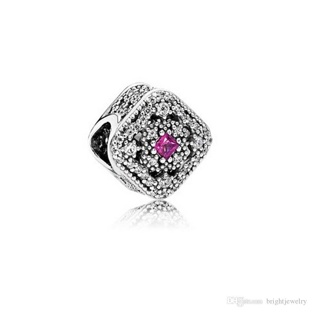 Fits Pandora Bracelets Fairytale Treasure Silver Beads With Cerise&Clear CZ 100% 925 Sterling Silver Charms DIY Jewelry wholesale