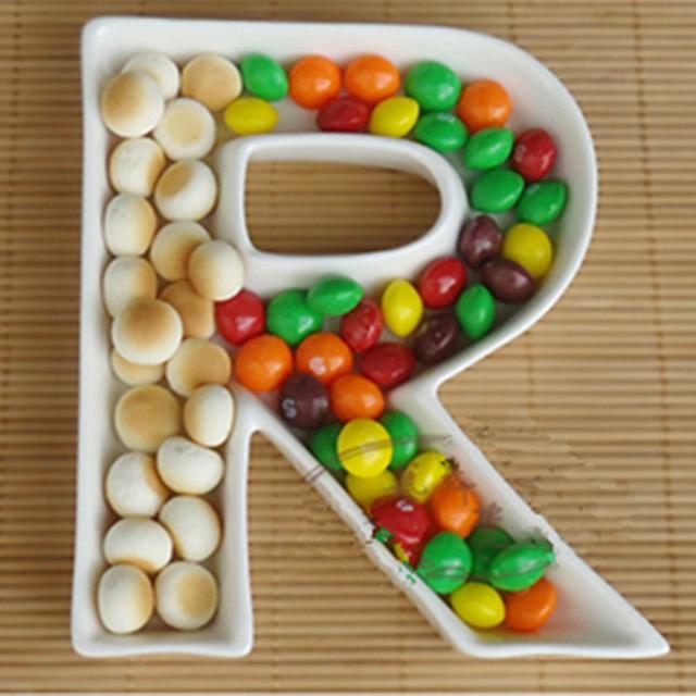 2019 personalized alphabet plate r shape snack dish ceramic love