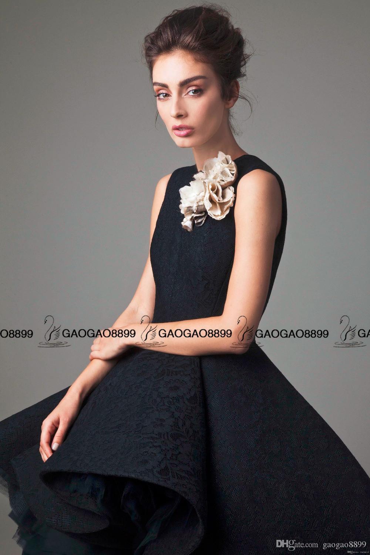 Krikor jabotiano alto baixo vestidos de baile feito à mão flor o pescoço preto homecoming vestido na altura do joelho vestido de festa sem mangas formal tapete vermelho