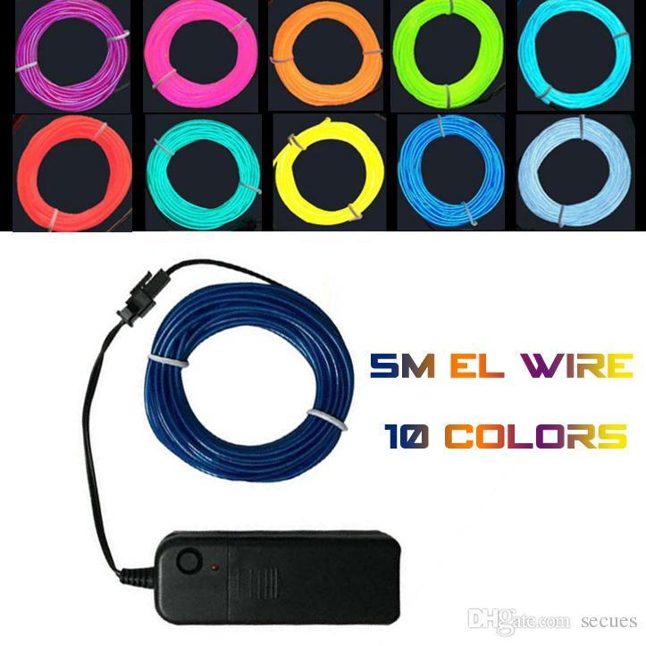 5M Flexible Neon Light Glow EL Wire Rope Tube Flexible Neon Light