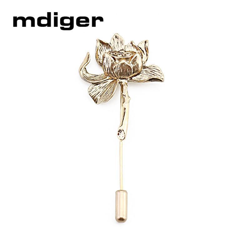 Mdiger Brand Antique Brooches Metal Lotus Flower Brooch Collar Pins Men Wedding Brooch Lapel Pins Men Suit Accessories