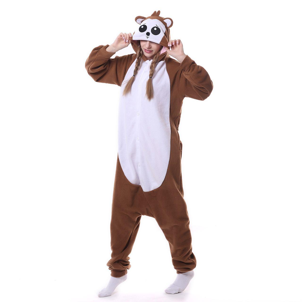 2017 Hooded Cartoon Pajamas Women Coffee Monkey Animal Hoodies Pyjamas Cute Fleece Full Sleeves Sleepwear Unisex
