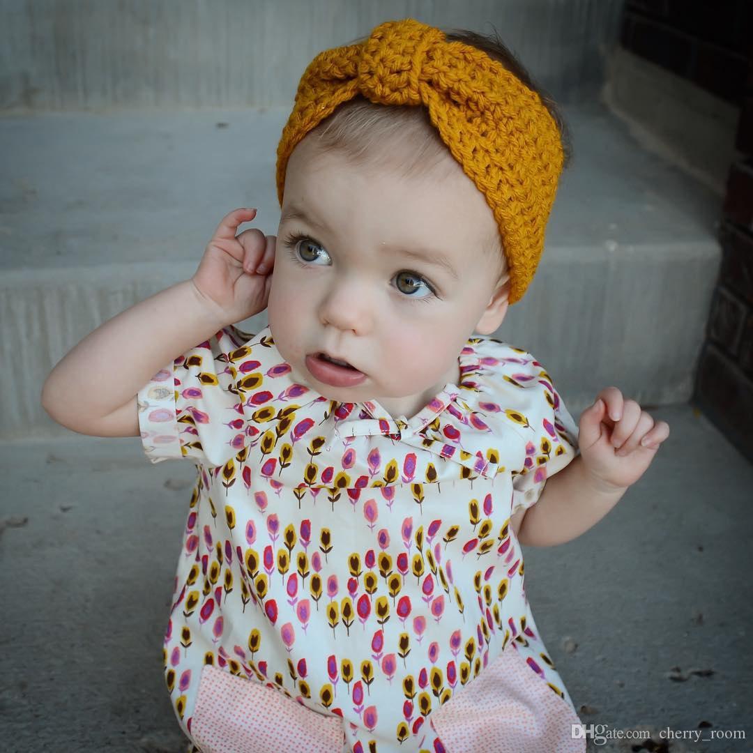 2016 Baby Girls Accessorie Accessorie Бабочка Вязание Детские Волосы Монтаж Европейский Стиль Большие Луки Головные Обращающиеся Уголов Защита Устройства H149