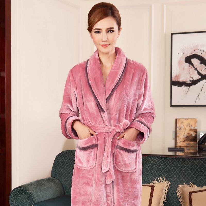 Wholesale Womens Robes Winter Thicken Flannel High Grade Autumn