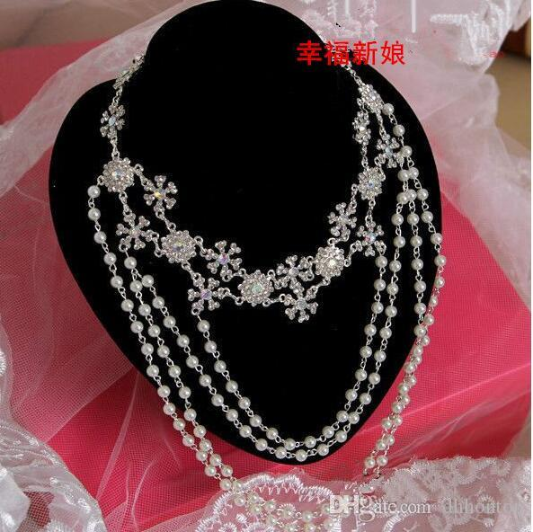 Wedding Bridal Jewelry Accessaries Crystal Necklace Chain Faux Gemstone Shoulder Chain With Tassel Party Ornament HT102
