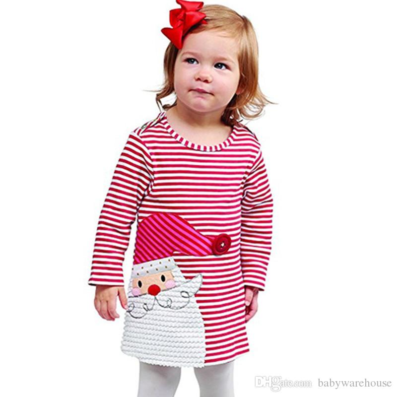 new year girls clothes christmas clothes baby girls red striped cute girl dress xmas princess dress kids baby cotton dress children clothing christmas - Girls Red Christmas Dress
