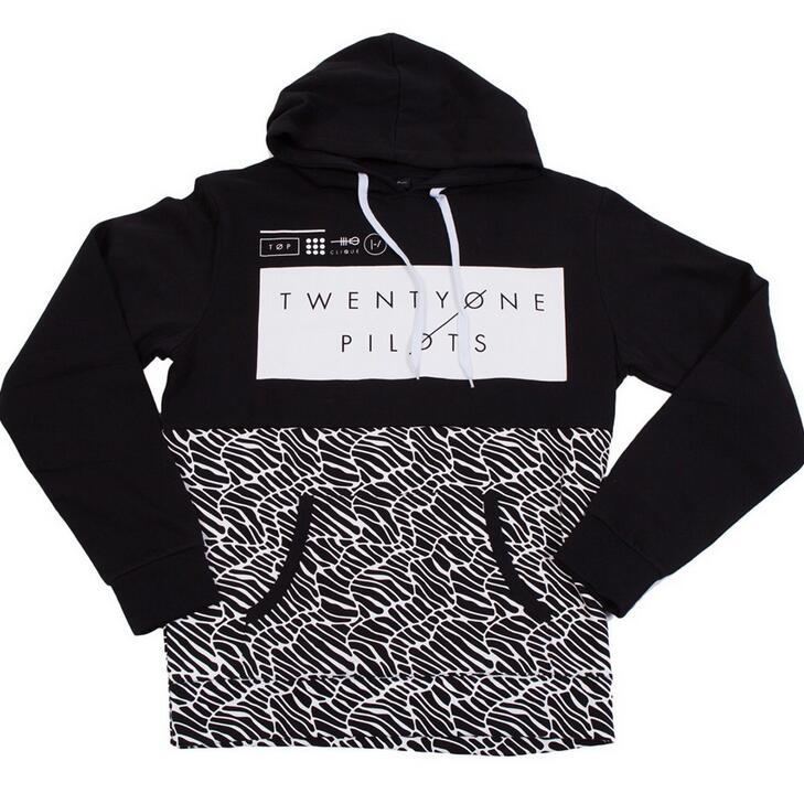 876ab1cf056419 Sweatshirts Fashion Men Patchwork 2016 Spring Twenty One Pilots Half  Pattern Pullover Print Black Plus Size