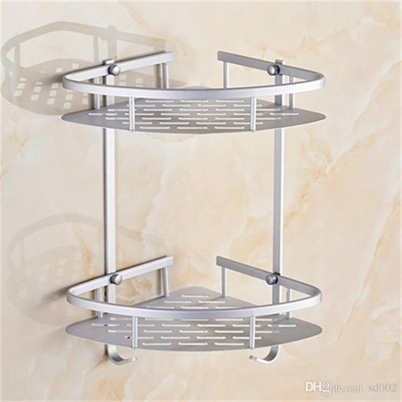 Soap Cosmetic Storage Organizer Rack Two Layer Wall Mounted Space Aluminum Bathroom Holder High Quality 26 5yj C R