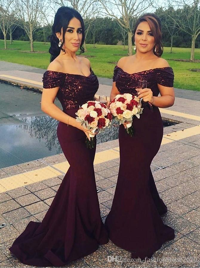 e7ab07c3b899 Bridesmaid Dresses 2018 Burgundy Off Shoulder Ruched V Back Sequins Top Long  Plus Size Satin Mermaid Maid Of Honor Gowns Wedding Guest Dress Bridesmaid  ...