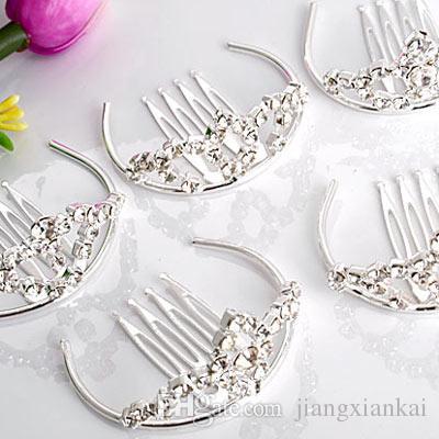 Drop Shipping Wholesale Fashion Tiaras Silver Plated Rhinestone Metal Hair Combs, Kids Hair Accessories Wedding Bridal Tiara Fine