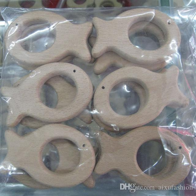 Organic Unfinished Beech Wooden Teether Elephant Free Teether Clip Ring Pacifier Clip Elephant Charm Nursing Necklace DIY Wood Beads
