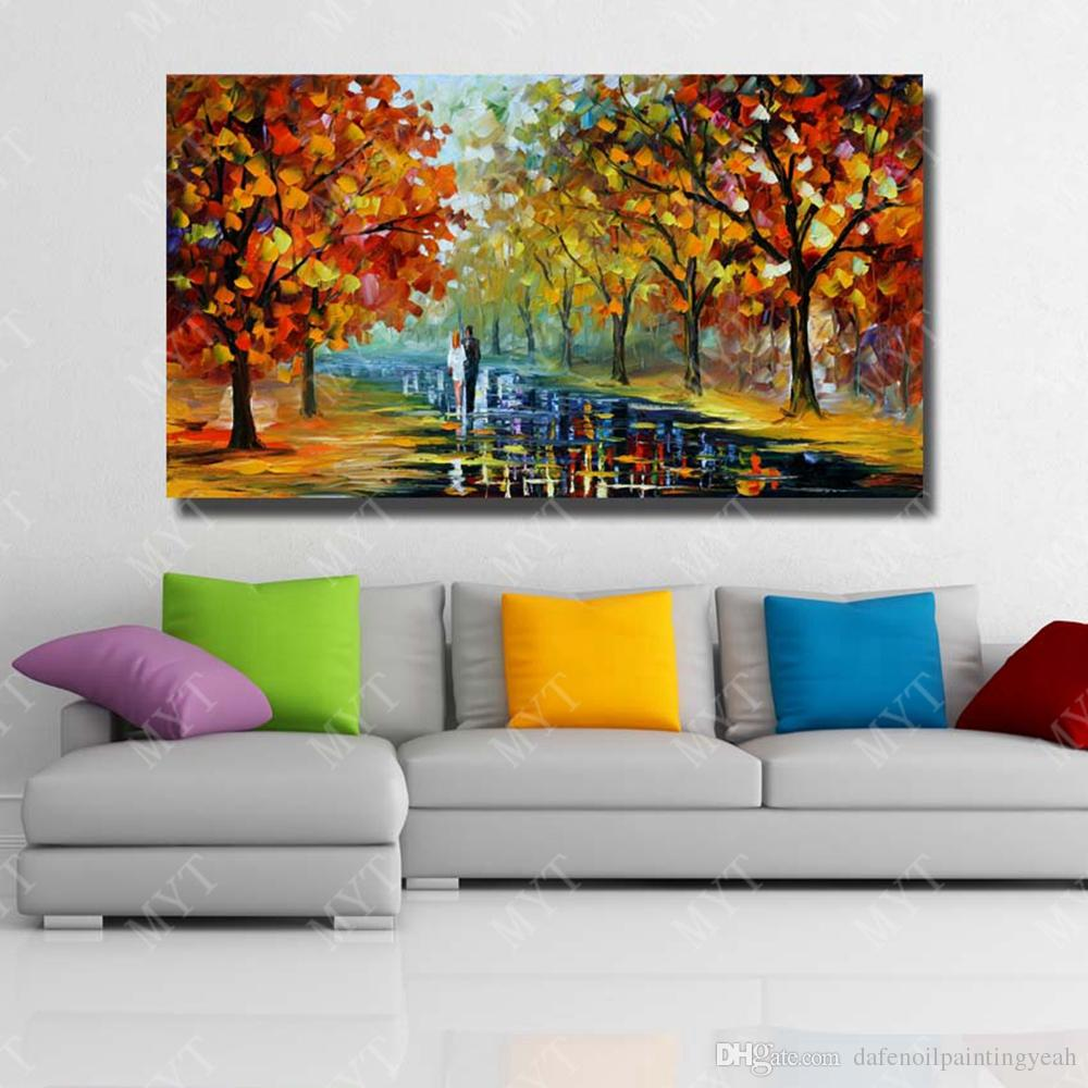 Hand Made Knife Tree Road Scenery Oil Painting On Canvas for Living Room Decoration Modern Home Decor