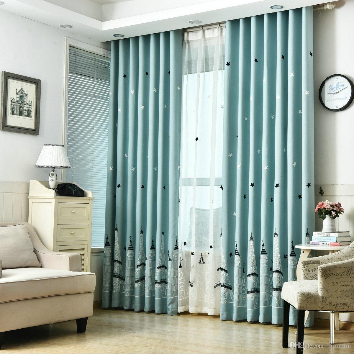 Rideaux de fenêtre pour enfants salon chambre à coucher modèle moderne avec  étoile château tulle rideaux occultants pour décoration de fenêtre