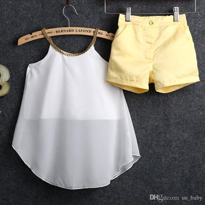 La maglia chiffona dei 2016 bambini + i bicchierini regolano le ragazze dei bicchierini di estate delle parti superiori bianche di scintillio dei bicchierini di colore giallo che scelgono la dimensione piacevole e fredda scelgono gratis
