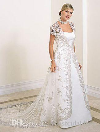 Discount Silver Lace Tail Plus Size Wedding Dresses Short Sleeves