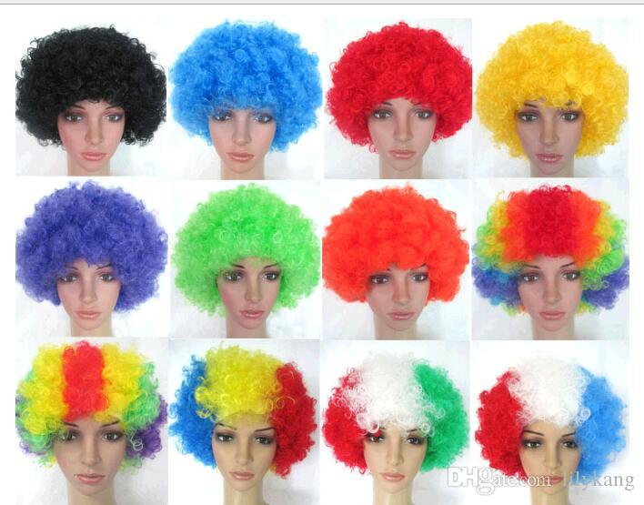 Party Wigs Colorful Afro Clown Hair Child Adult Costume Football Fan Wig Hair Halloween Rainbow hair wigs for Football 1776 Cosplay Wigs