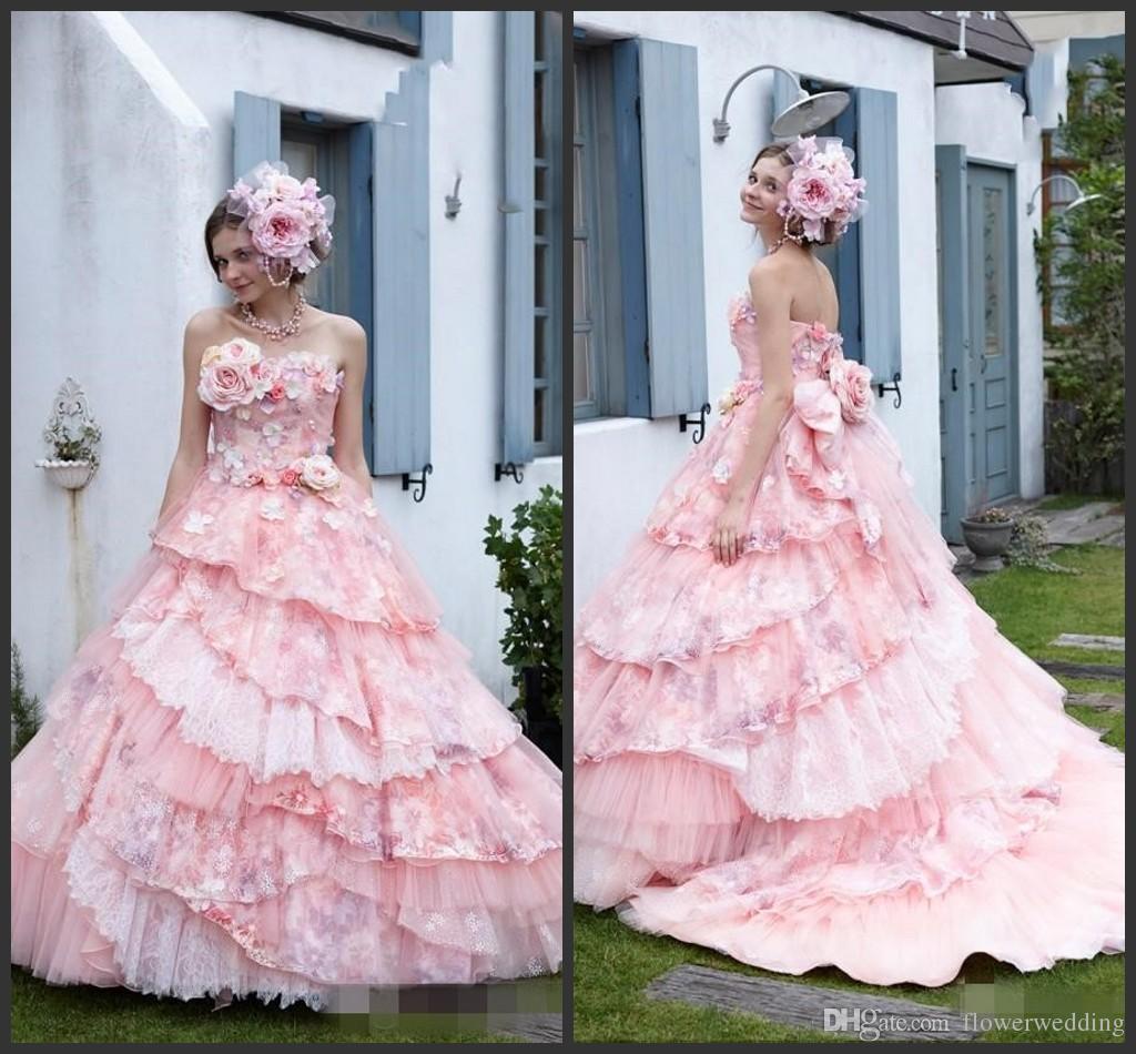 Compre Vestidos De Boda Del Vestido De Bola Rosado De Princesa Blush ...