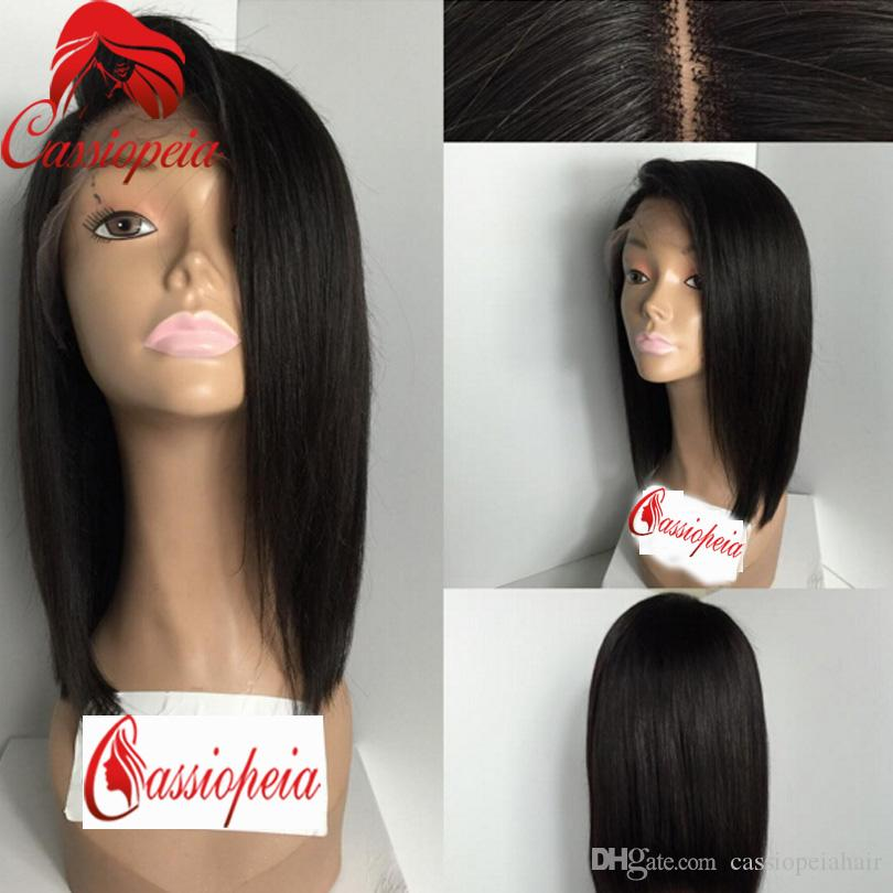 Wigs with Side Bangs Full Lace Bob Human Hair Wigs Peruvian Bob Beauty Lace Front Wigs For Black Women Glueless