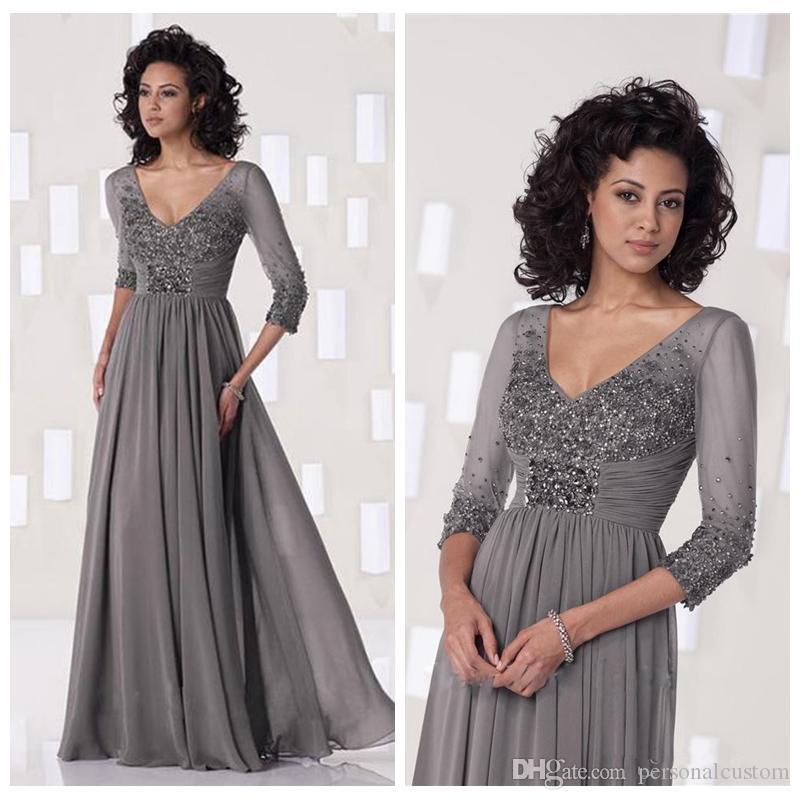 2017 Grey Chiffon Evening Dresses Sequins Mother Of The