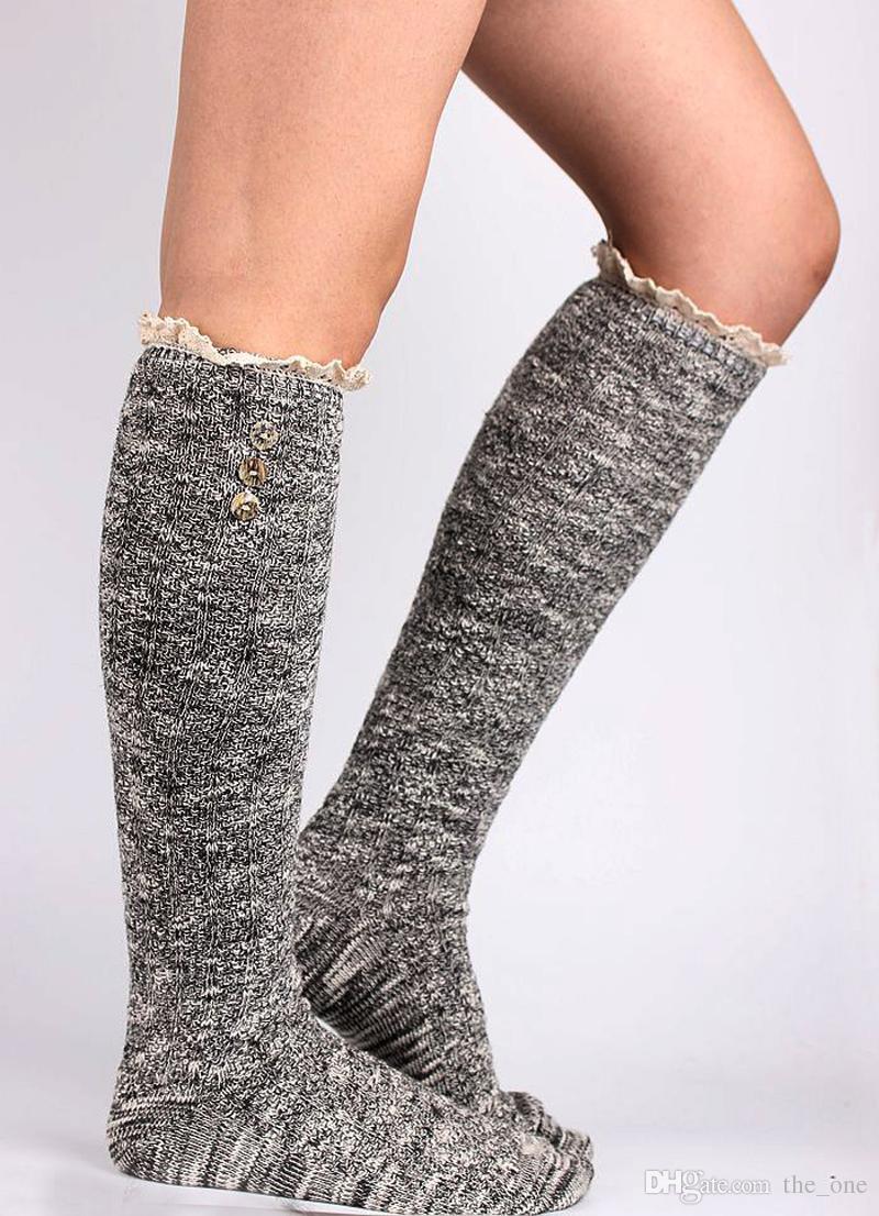 Kızlar moda dantel diz yüksek çorap kadın kız örgü yün tozluk bacak isıtıcı düğmesi 3 renkler ile mevcut