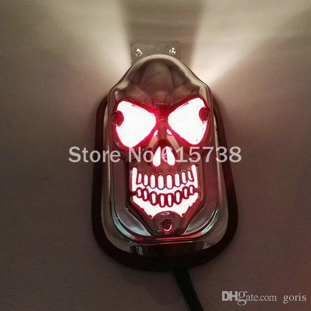 Motocicleta Crânio LED Traseiro Luz Da Placa de Licença Suporte Universal