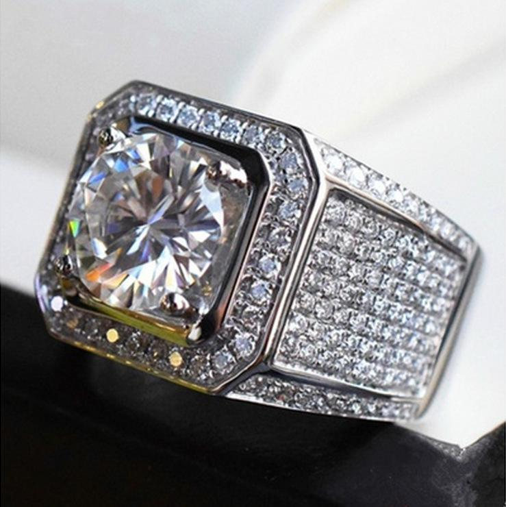Hiphip Full Diamond Rings For Mens Top Quality Fashaion Hip Hop Accessories Crytal Gems 925 Silver Ring Wholesale
