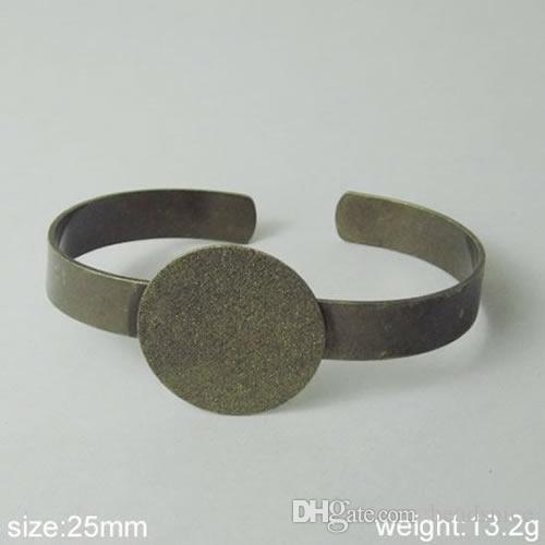 BeadSnice Sieraden Armband Messing Manchet Bangle met 25mm Platte Pad Nice voor Cabochon of Cameo DIY Sieraden ID 4737