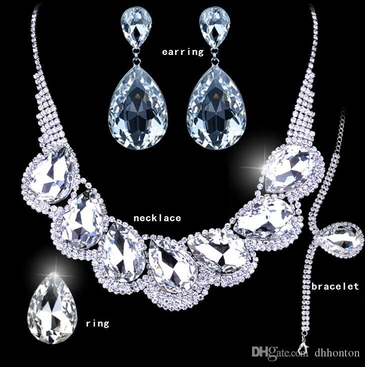 New Shiny Luxury Bridal Jewelry Sets Crystal Wedding Crown Earrings Necklace Tiaras rings bracelet Accessories Fashion Headdress HT108