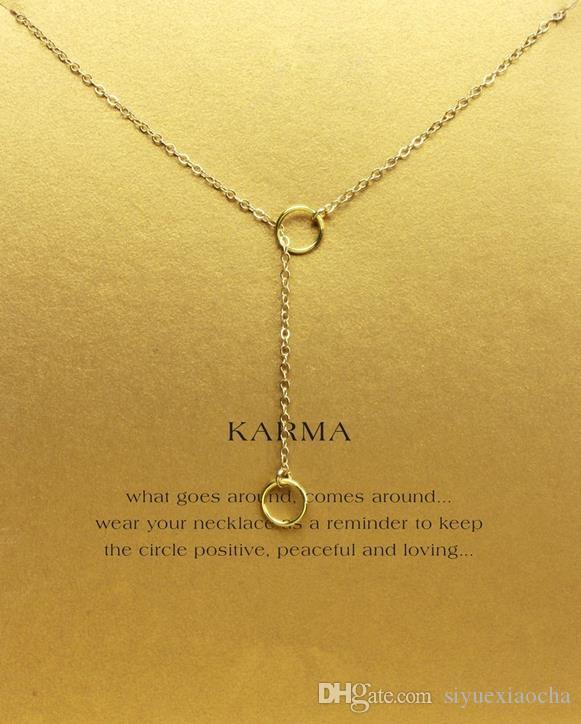 Com cartão! Lindo Colar Dogeared com 2 círculos karma, nobre e delicado, sem desbotar, frete grátis e alta qualidade.