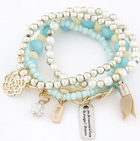Reizende Frauen-Armband-Art- und Weiseblumenfeuerball D-Umbau-Anhänger-Armband-Frauen-Perlen-Korn-elastische Armbänder schwarz / Orange / Rosa / Beige / Blau / Grün