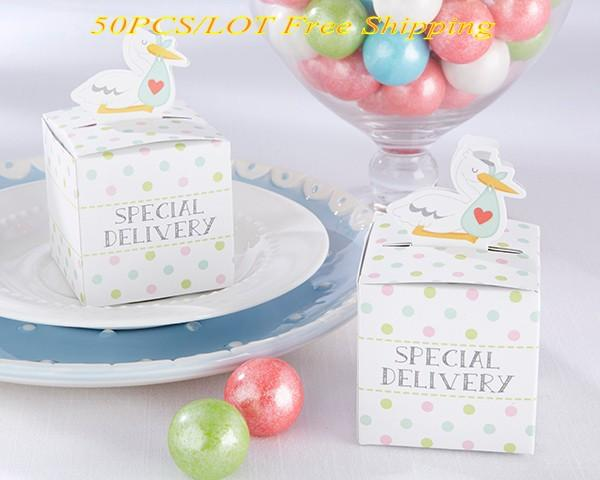 (50 pcs/lot) Baby Candy box of Little Special Delivery Stork Favor Box for baby duck gift box and Party decoration paper box Free shipping