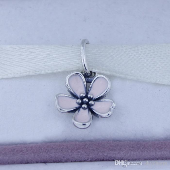 Fits Pandora Bracelet DIY Making Authentic 100% 925 Sterling Silver Original Beads enamel flower Charm Women Jewelry 1pc/lot