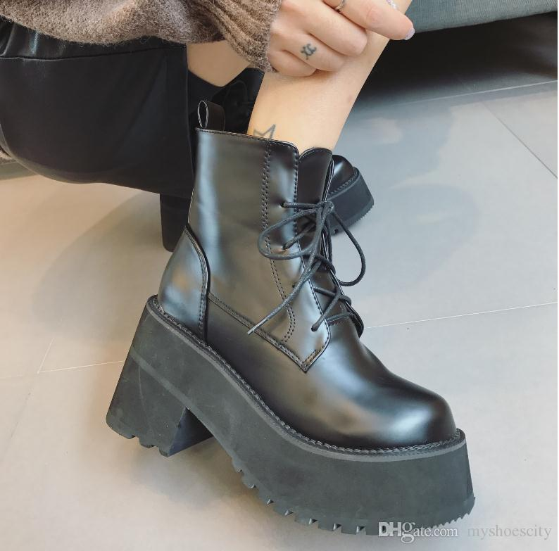 Women'S Leather Boots Short Korean Pu And Lace Up