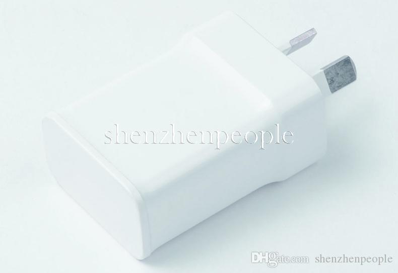 Alta calidad 5V 2A aislamiento AU Plug adaptador de cargador de pared para Smartphone Galaxy S3 S4 S5 I9500 I9300 Nota 2 3 4 N7100 blanco
