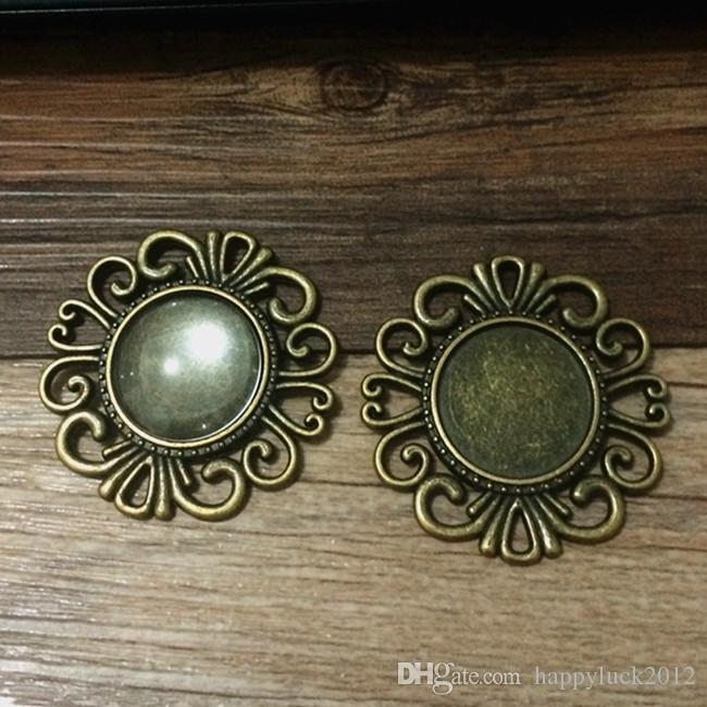 Mixed style 10style Diy Bronze Round pendant base Cameo Cabochon Base Setting Necklace Penand For Jewlery Making 18*18mm