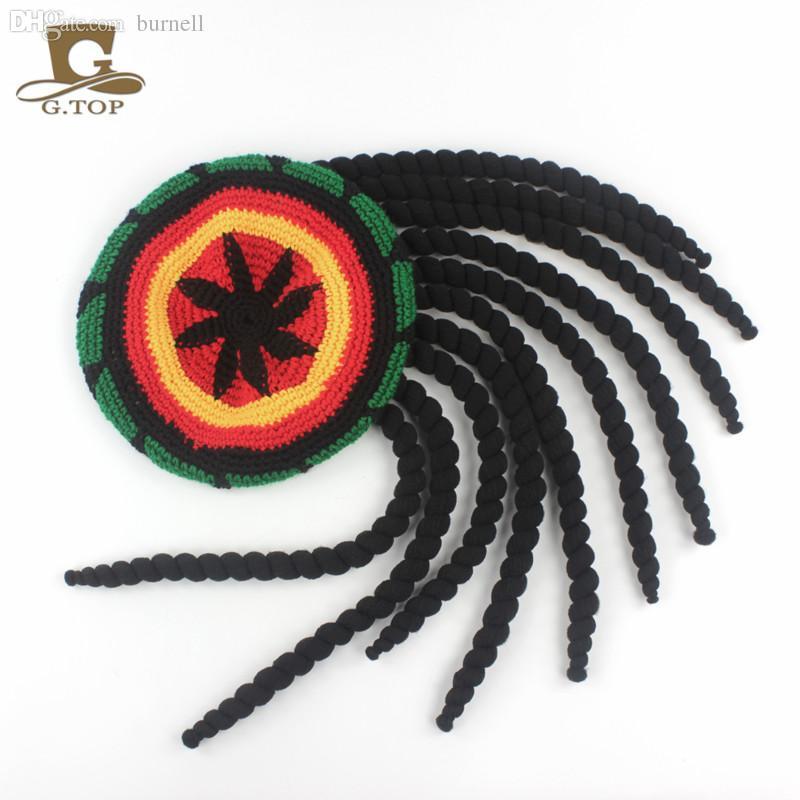 Wholesale-RASTA HAT Reggae Cap Jamaican Beanie Hippie Dreadlocks Tam ... d4f7074cd28f