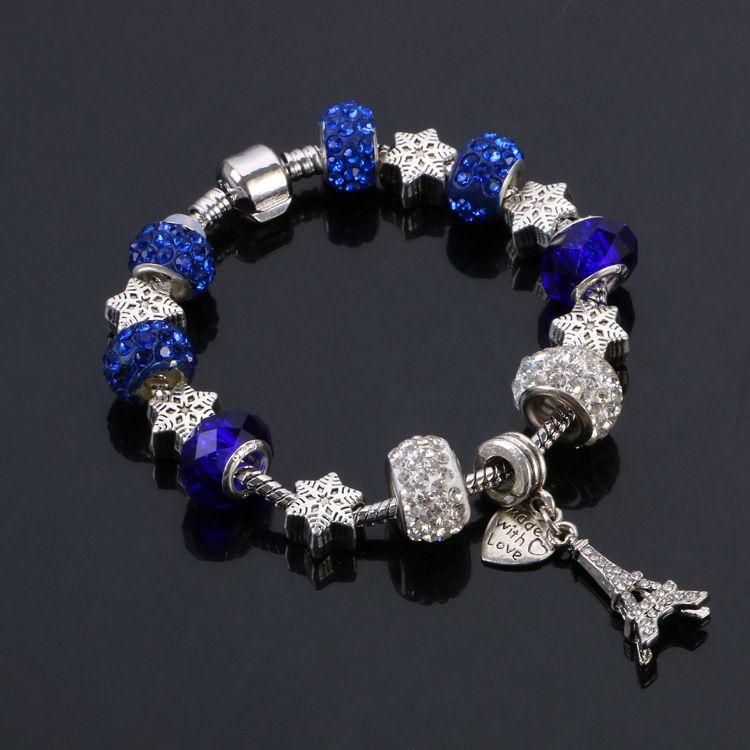Hot sell 925 Silver bracelet,Eiffel Tower and love style wholesale European Charm Beads Fits pandora Bracelets for men/women
