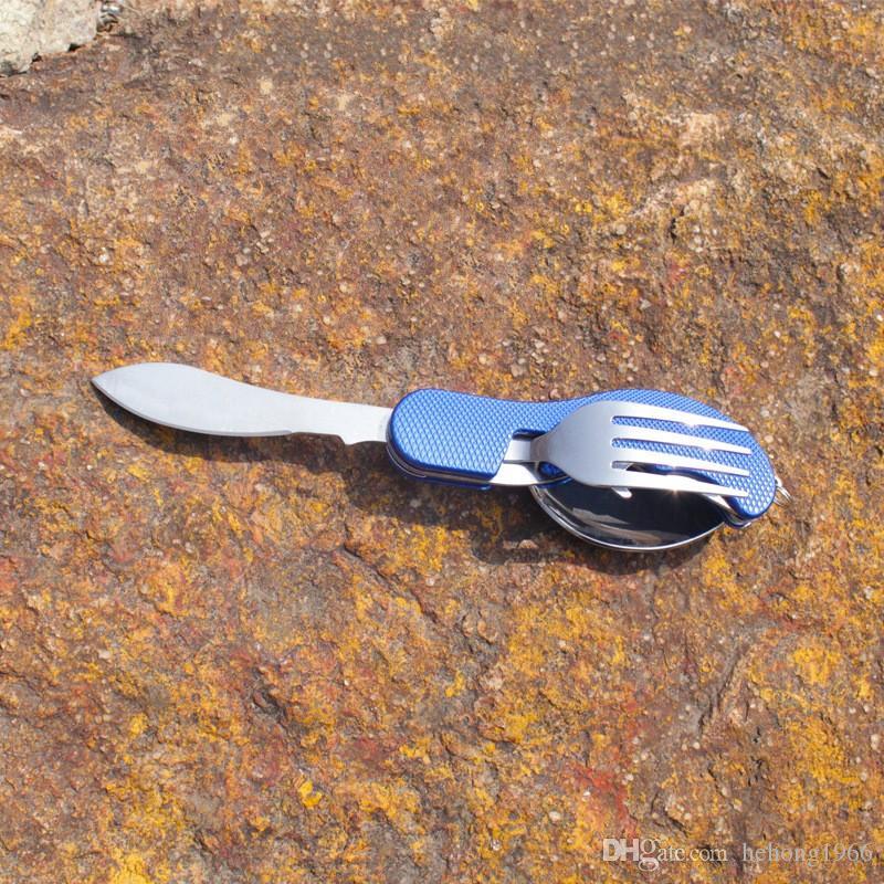 Sofra Takımı Set Paslanmaz Çelik Katlanır Bıçak Çatal Kaşık Şişe Açacağı Takım Açık Seyahat Piknik Aracı Taşınabilir Dishware 7 8sy F R