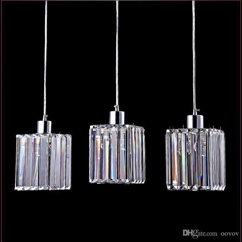 Clear Crystal Dining Room Pendent Lamp Fashion Simple Restaurant Kitchen Pendant Light Cafe Bar Shops Hanging Lights