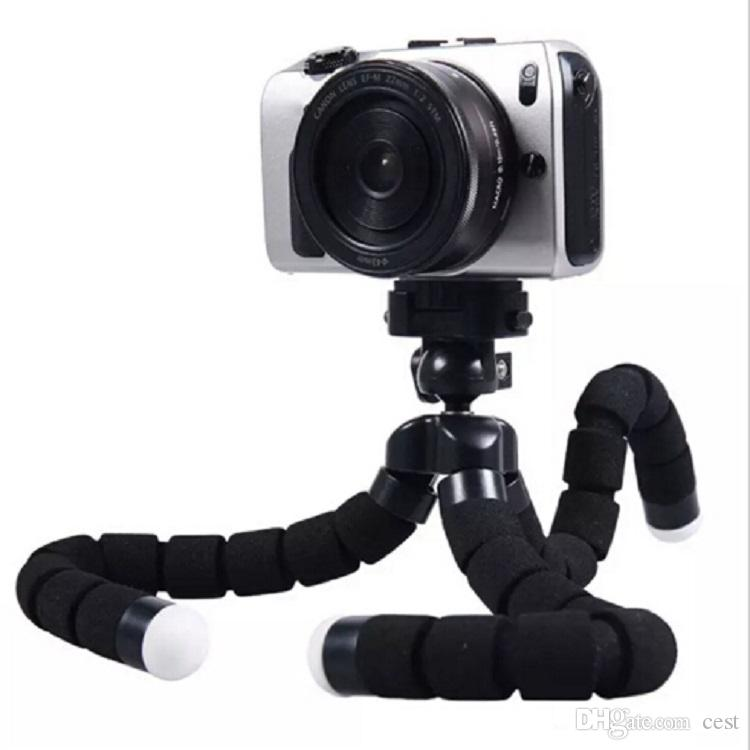 2017 new Flexible Tripod Holder For Cell Phone Car Camera Gopro Universal Mini Octopus Sponge Stand Bracket Selfie Monopod Mount With Clip