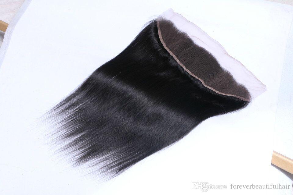 Atacado barato Não Transformados Brasileiro Virgem Do Cabelo Humano Tece Em Linha Reta 13X4 Peruano malásia indiano Fechamento Rendas Branqueada Remy cabelo