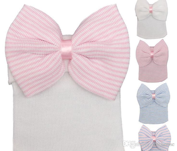 Fashion Newborn Knit Beanie Hats Baby Unisex Big Bows Caps Toddler Kid Cotton Crochet Wraps Infant Unisex Hair Accessories